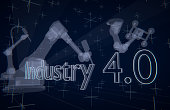 Industry 4.0 illustration, transparent industrial robots on assembly line