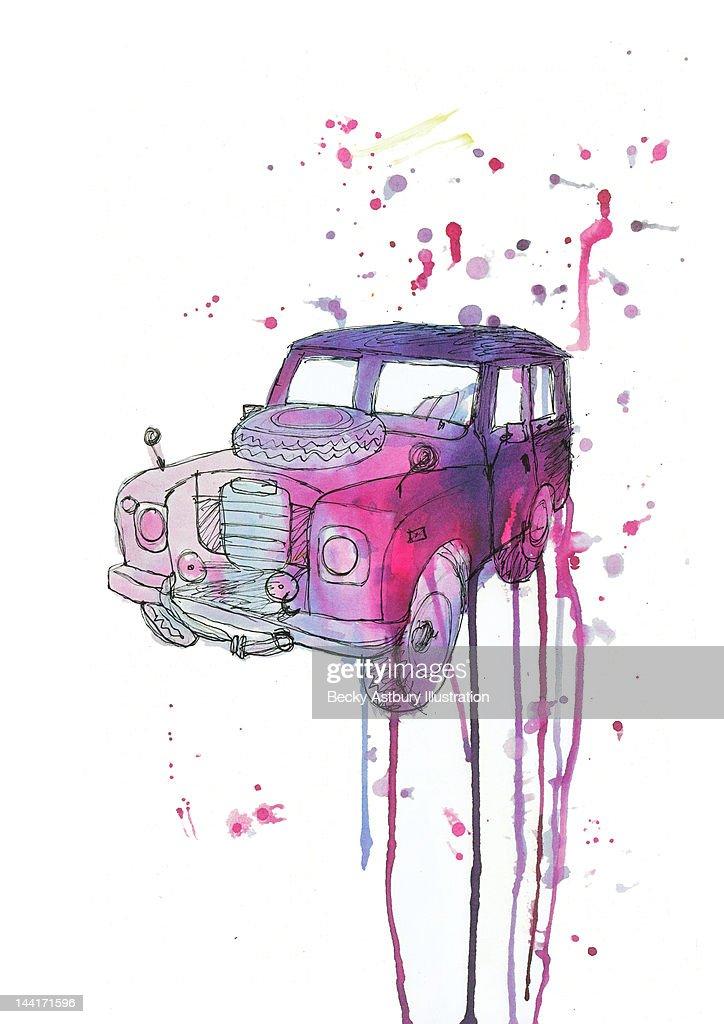 Inked old car : Stock Illustration