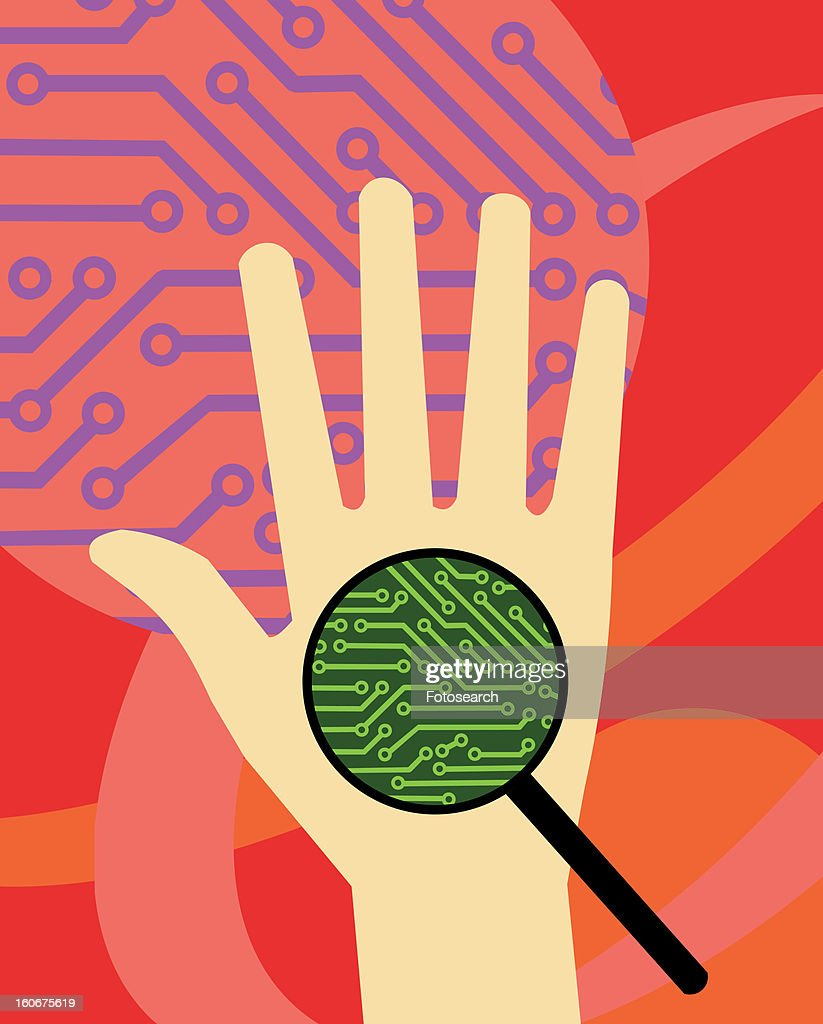 Inspection of hand with circuit board and magnifier : Stock Illustration