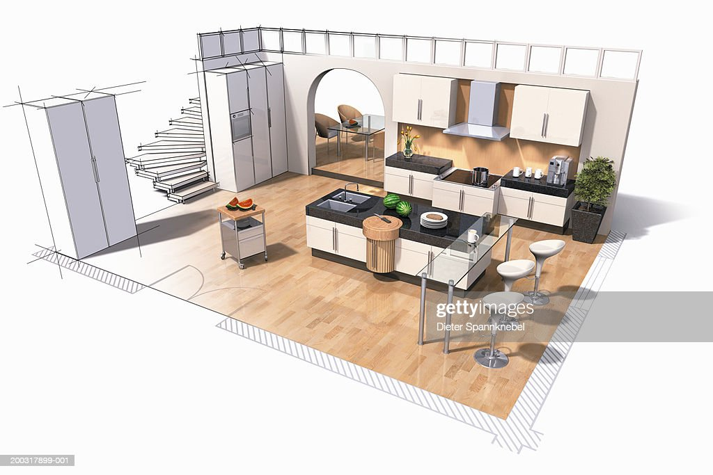 Interior Design Of Kitchen Digital Stock Illustration