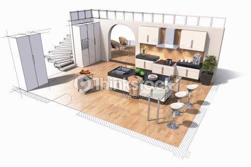 Interior design of kitchen stock illustration thinkstock for Arredamenti low cost