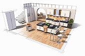 Interior design of kitchen (Digital)
