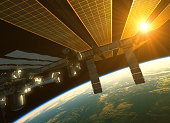 International Space Station In The Rays Of Sun Sun Above The Earth. 3D Illustration.