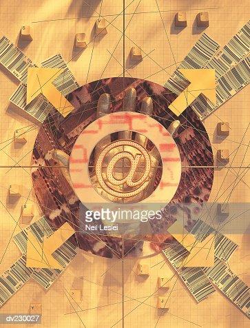 Internet symbol with arrows radiating outward : Stock Illustration