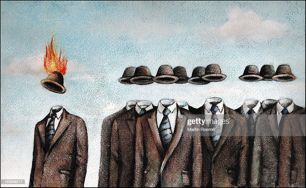 Invisible men wearing suits and bowler hats : Stock Illustration