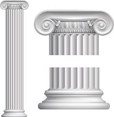 Illustration of classical Greek or Roman Ionic column. Vector file is eps 10 and uses transparency blends and gradient mesh