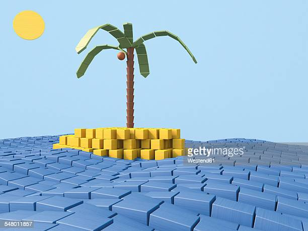 Island with coconut palm made of building bricks, 3D Rendering