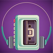Isolated retro walkman. Vector illustration.