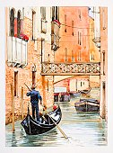 Italy, Venice, man rowing gondola in city canal, rear view.