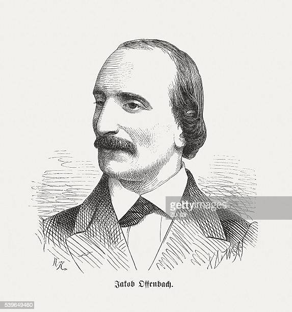 Jacques Offenbach, German-French composer, wood engraving, published in 1870