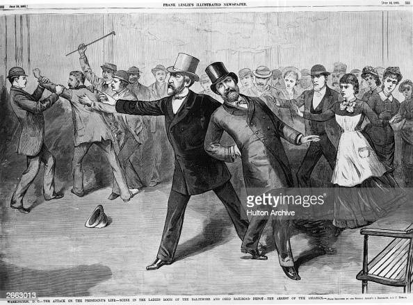 James Abram Garfield 20th President of the United States being assassinated at Baltimore Station Ohio Following his support of civil service reform...