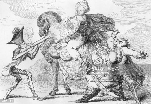 A James Gillray cartoon entitled 'The Political Banditti Assailing The Saviour of India' Warren Hastings the Governor General of India in oriental...