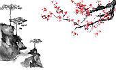Japan traditional sumi-e painting. Indian ink illustration. Japanese picture.