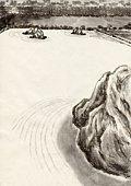 Japanese Garden, Ink Painting, Vignette