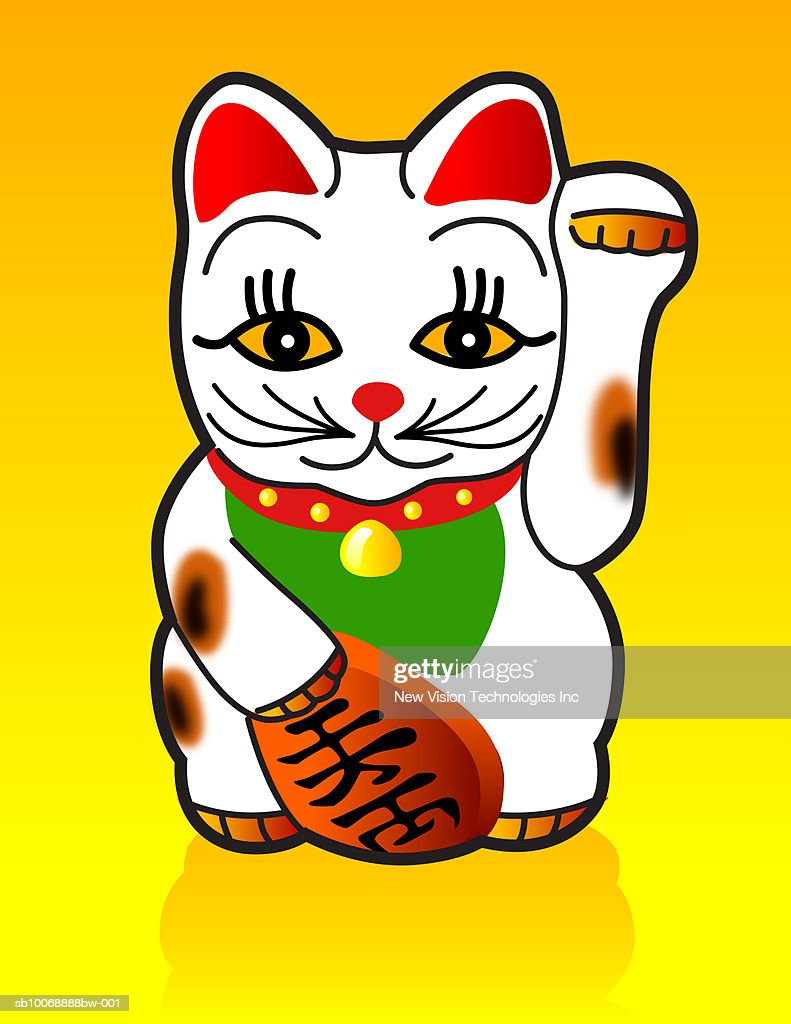 Japanese Maneki-neko Lucky Cat : Stock Illustration