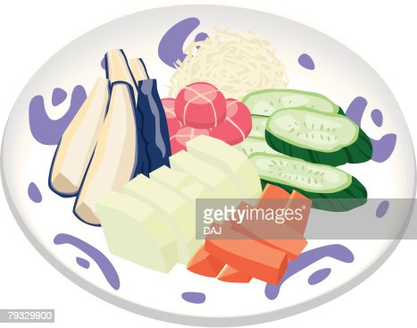 Japanese Pickles in combination platter, close-up, illustration : Vector Art