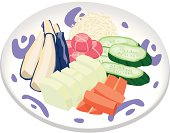 Japanese Pickles in combination platter, close-up, illustration