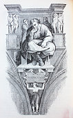 Jeremiah by Michelangelo in the vintage book Michelangelo by S.M. Bryliant, St. Petersburg, 1891