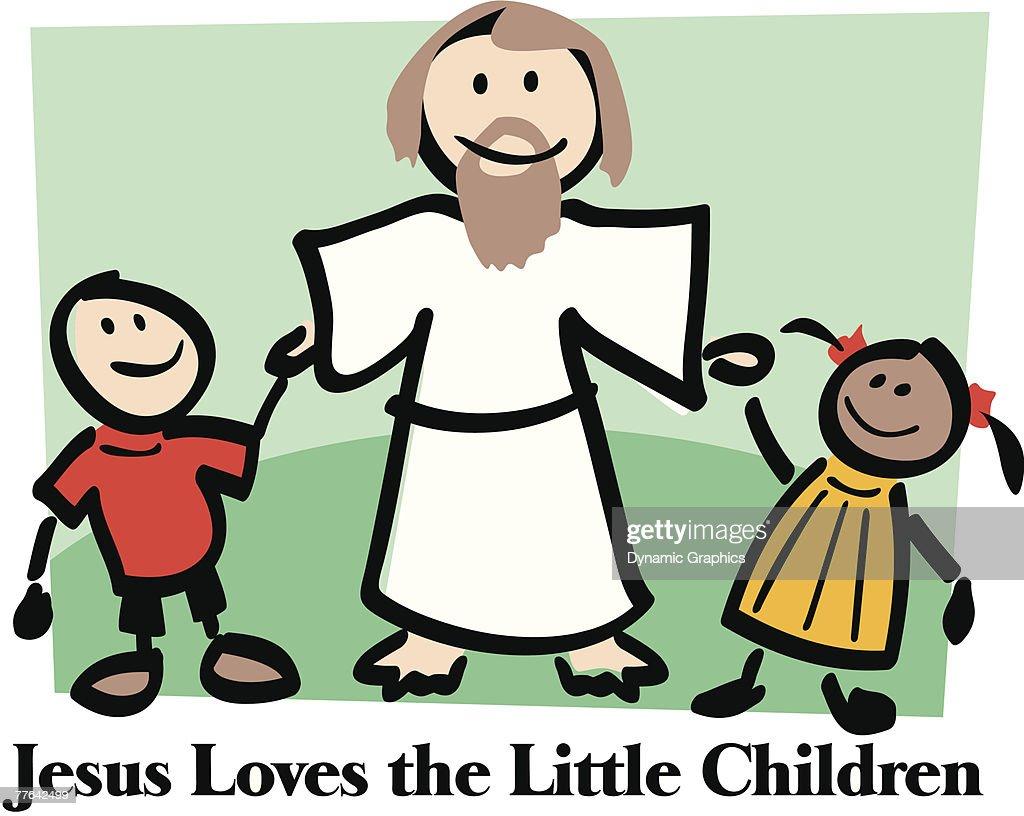 jesus loves the little children sign vector art getty images