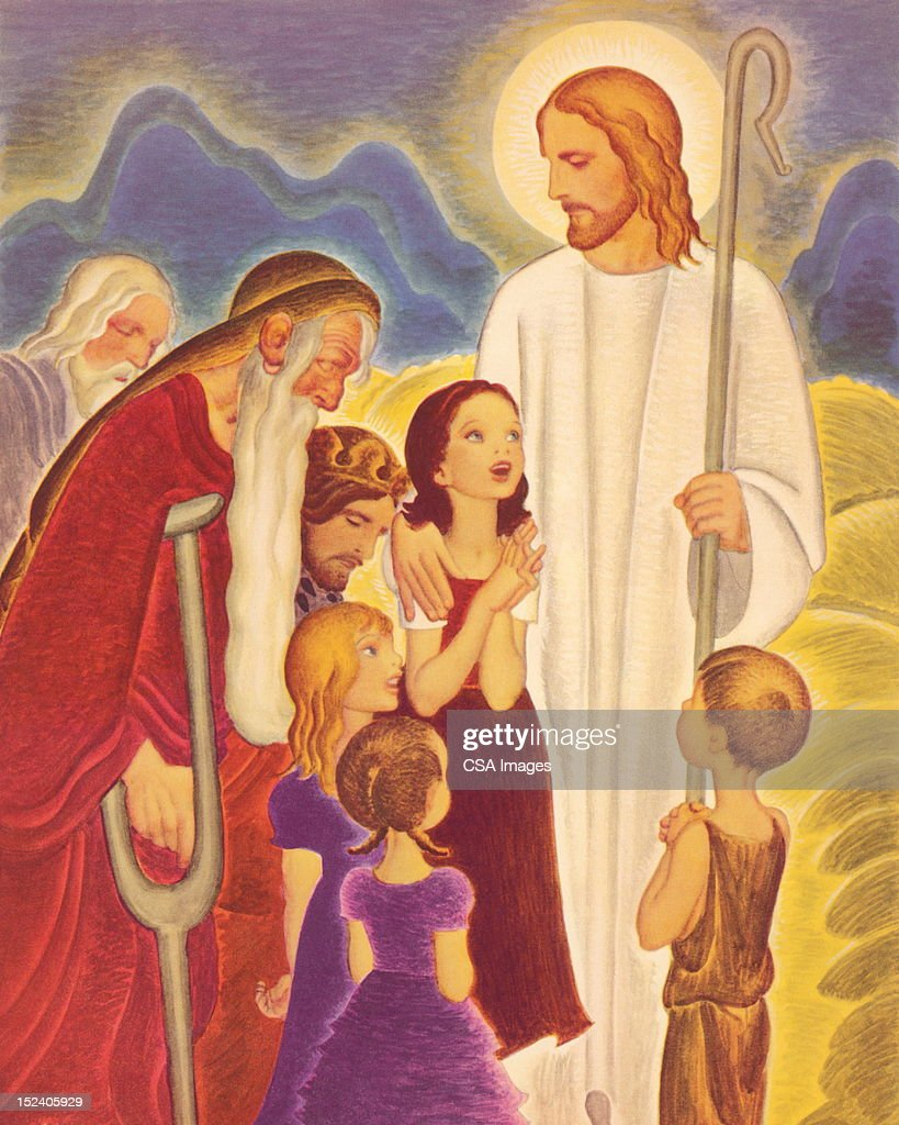 jesus with children and the eldery stock illustration getty images