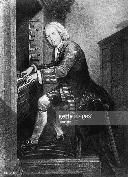 Johann Sebastian Bach German musician and composer playing the organ circa 1725 From a print in the British Museum