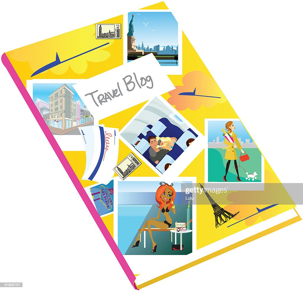 A journal covered with photographs and the words Travel Blog : Stock Illustration