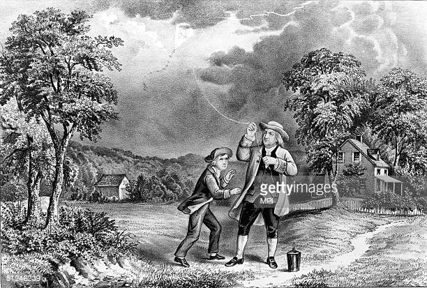 June 1752 Benjamin Franklin's 1762 experiment proving that lightning is an electric phenomenon Original Artwork Lithograph by Currier Ives