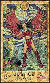 Fantasy Creatures Tarot full deck. Major arcana. Hand drawn graphic illustration, engraved colorful painting with occult symbols
