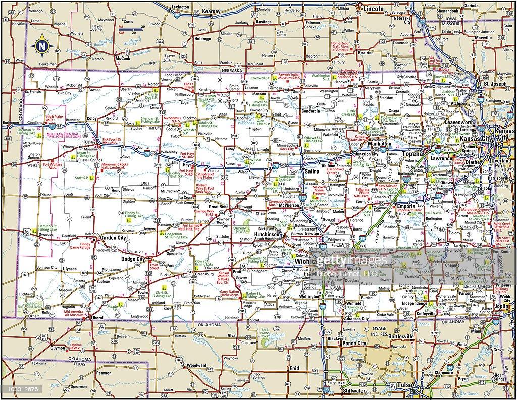 Kansas Highway Map Vector Art Getty Images - Kansas highway map