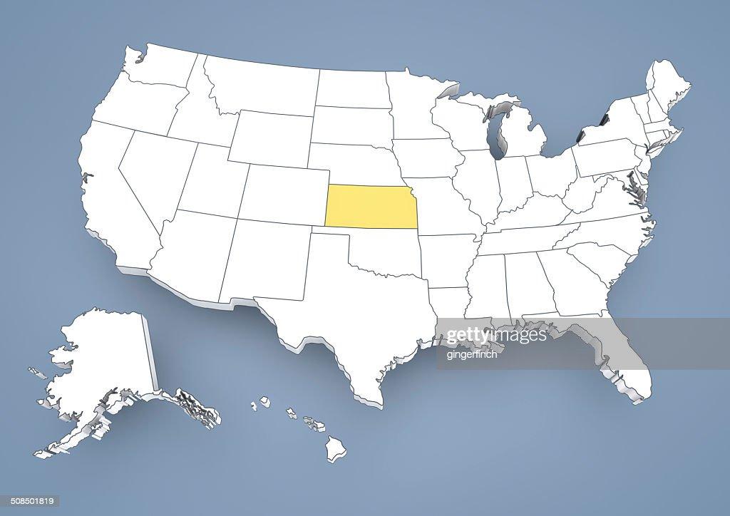Kansas Ks Highlighted On A Contour Map Of Usa United States Of - Kansas map usa