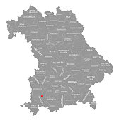 Kaufbeuren city red highlighted in map of Bavaria Germany