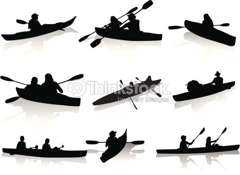 Kayaking Silhouettes Vector Art