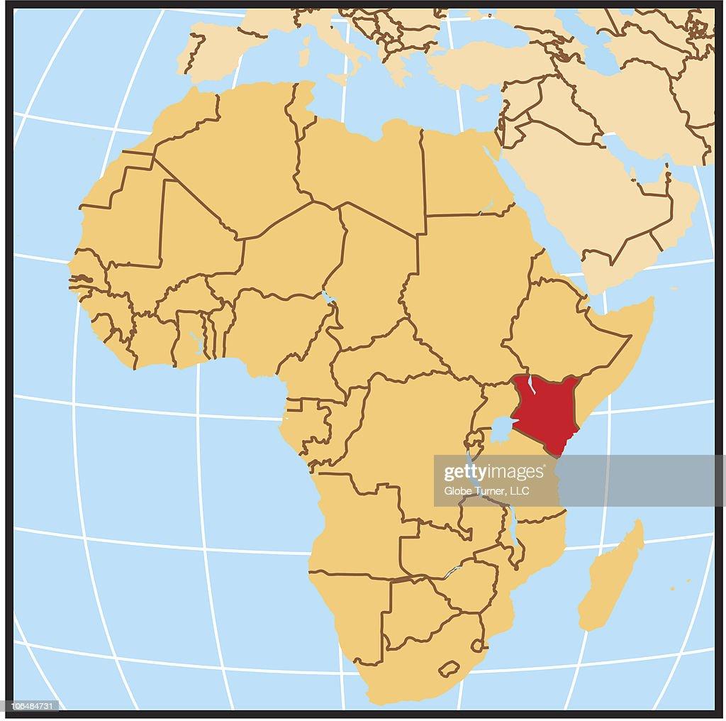 Kenya locator map : Vector Art