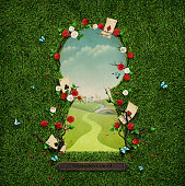 Beautiful green background with roses and cards in keyhole. Computer graphics.