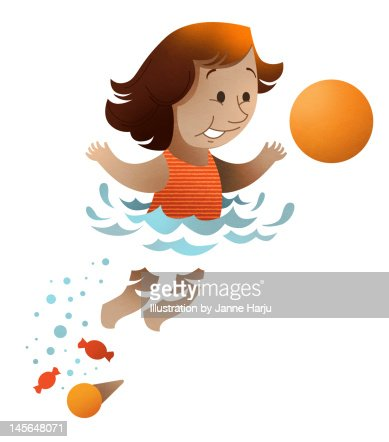 Kid playing in water : Stock Illustration