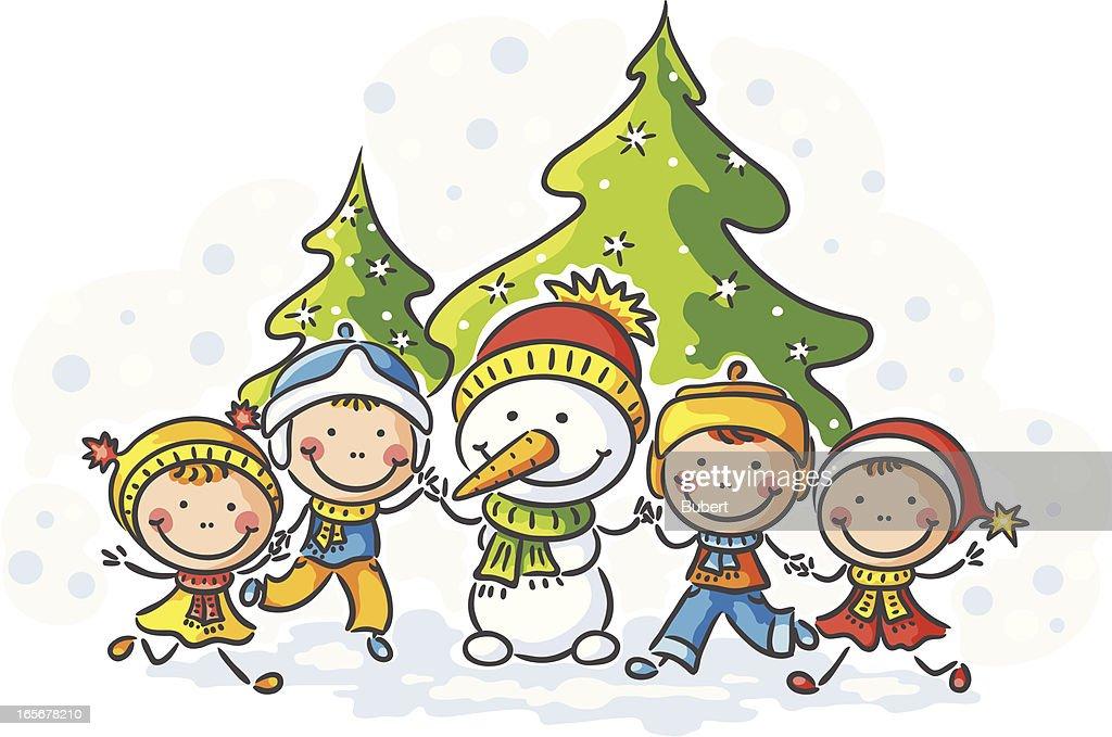 Kids and Snowman : Vector Art
