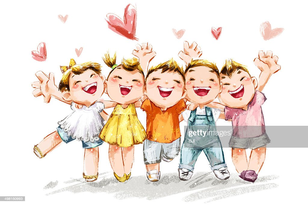 Kids Cheering For Childrens Day Stock Illustration | Getty ...