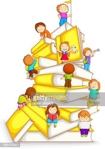 Kids Climbing in Stack of Book : Vector Art