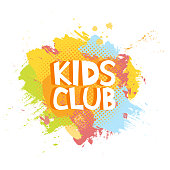 Kids Club fun letters in abstract colorful paint brush grunge background. Vector logo illustration template.
