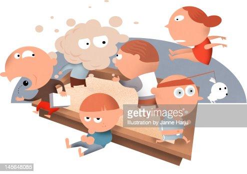 Kids in sand box : Stock Illustration