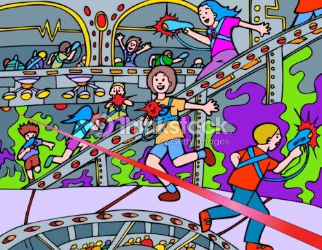 Kids Playing Laser Tag stock illustration - Thinkstock