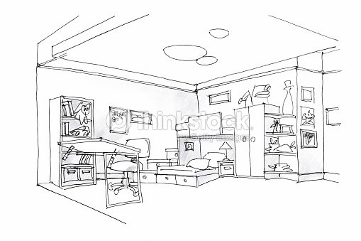 chambre enfants croquis noir et blanc illustration thinkstock. Black Bedroom Furniture Sets. Home Design Ideas