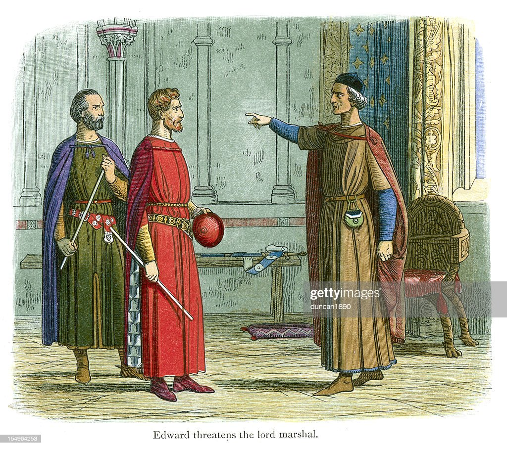 King Edward threatens the Lord Marshal : Stock Illustration