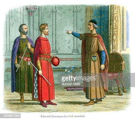 King Edward threatens the Lord Marshal : Stock Illustration