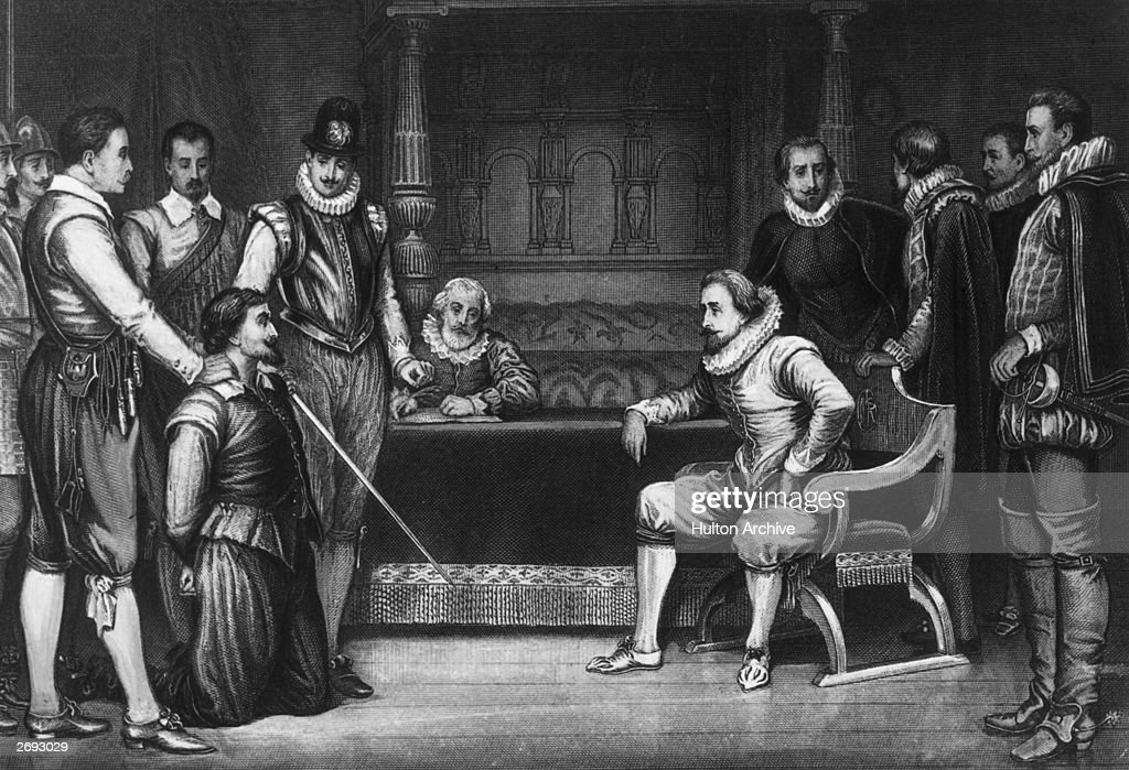 King James I (1566 - 1625) interrogates <a gi-track='captionPersonalityLinkClicked' href=/galleries/search?phrase=Guy+Fawkes&family=editorial&specificpeople=101029 ng-click='$event.stopPropagation()'>Guy Fawkes</a> about his part in the gunpowder plot to blow up Parliament, 1605. Engraved after a painting by J Ralston.