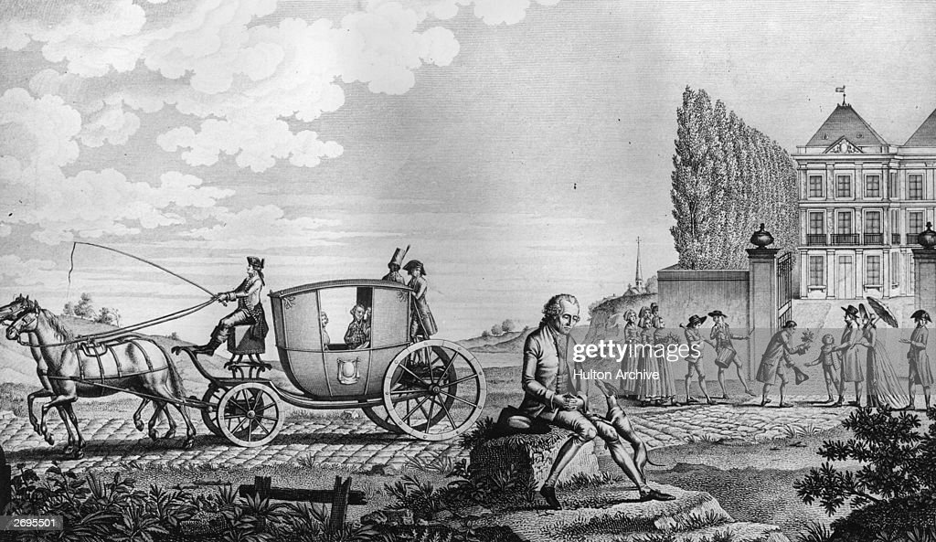 King Louis XVI of France and the royal family flee the revolution hoping to find sanctuary at the court of Emperor Leopold of Austria. They were later captured and returned to Paris.