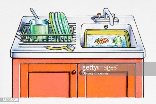 Kitchen Sink With Dishes kitchen sink dishes in washingup bowl and in drying rack stock