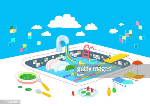 kitchen sink with home appliances stock illustration