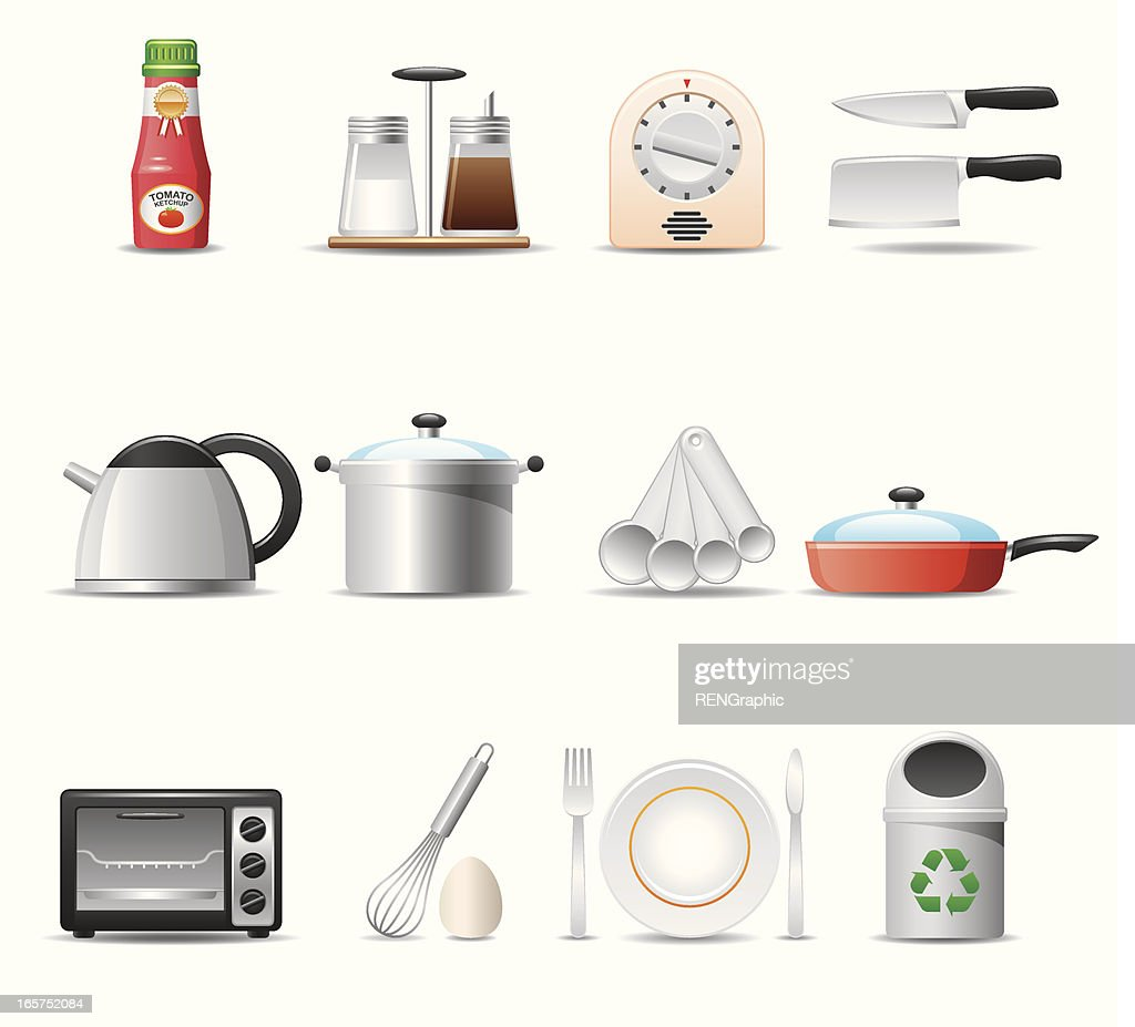 Kitchen utensils icon set elegant series vector art getty images for Kitchen set elegant