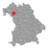 Kitzingen county red highlighted in map of Bavaria Germany